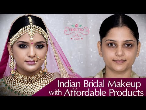 Braid hairstyles - Indian Bridal Makeup Tutorial  Affordable Makeup Products  Bridal Look 2019  Chandni Singh