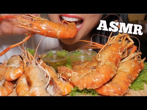 ASMR JUMBO DEEP FRIED BBQ TIGER PRAWNS (Eating Sounds) | SAS-ASMR