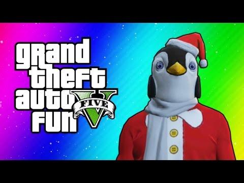 GTA 5 Online Funny Moments – Christmas DLC, Santa Claus Delirious, Penguin Mask, Dance Moves!
