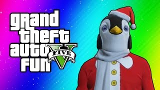 GTA 5 Online Funny Moments - Christmas DLC, Santa Claus Delirious, Penguin Mask, Dance Moves!