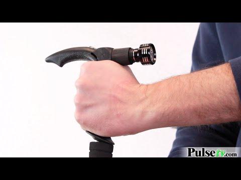 Anti-Shock Telescopic Walking Stick with Built-In LED Flashlight