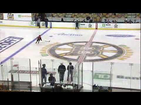 9 year old kid hockey phenom scores amazing goal before Bruins game in penalty shot shootout contest