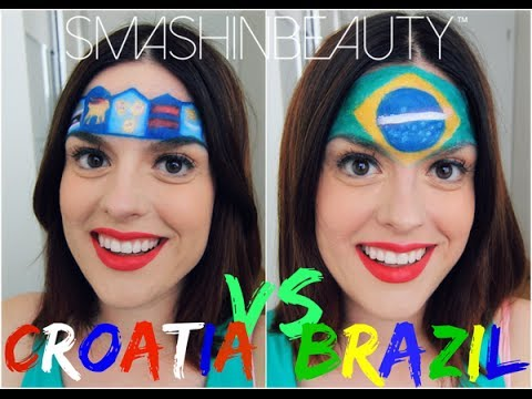 FIFA WORLD CUP 2014 Croatia VS Brazil Fan Flag Makeup Face Paint