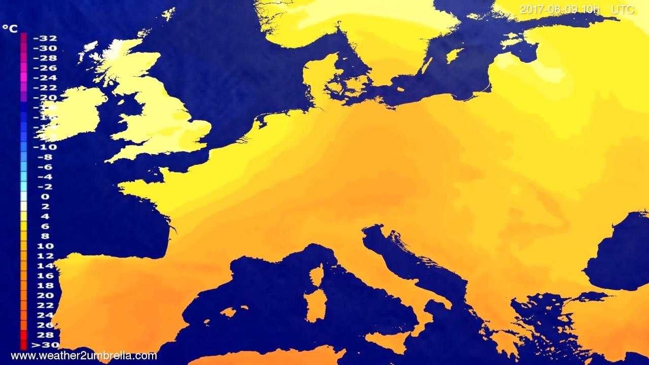 Temperature forecast Europe 2017-06-06