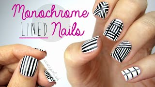 Monochrome Lined Nail Art - YouTube
