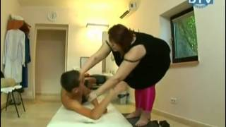 Fat Woman Massages Skinny Boys