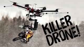 Zabójczy dron! Czyli latająca piła mechaniczna vs bałwany!