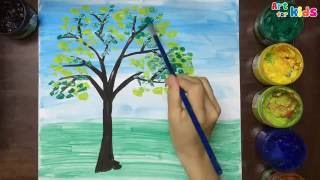 How to draw tree for kids | Landscape painting for children | Art for kids
