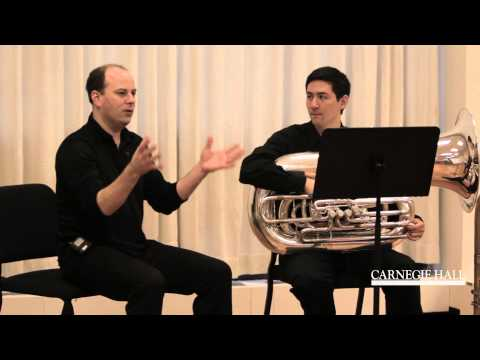 tuba - Berlin Philharmonic tuba player Alexander von Puttkamer coaches Eric Hom on Wagner's Ride of the Valkyries. http://carnegiehall.org/workshops Select members ...