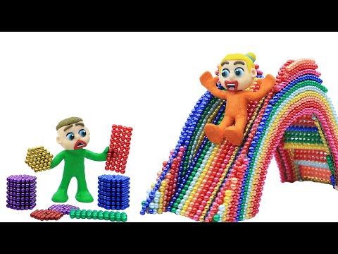 Familia Luka ⛸️ cómo construir un tobogán inflable a partir de bolas magnéticas 💖 Dibujos Animados