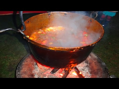 Hungarian Goulash with Recipe - open fire cooking in a big bowl