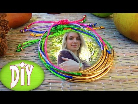 Bracelets: DIY Tube Bracelet! Bracelet Making Tutorial Out of String & Tube charm