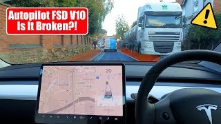 V10 Cant See This Massive Lorry! Is It Broken? - Tesla Autopilot Full Self Drive UK City Test by Pokemon Cards