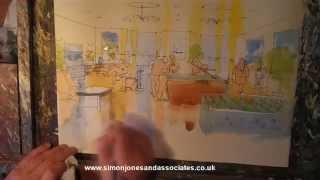 How to paint in watercolour interior perspective. Veterans' Rehabilitation Centre Birmingham, games room.