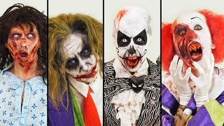 A makeup artist gives herself four chilling Halloween looks. Check out more awesome videos at BuzzFeedVideo!