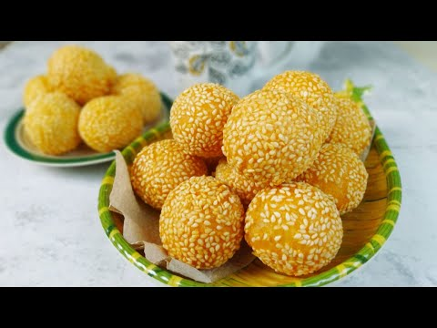 Sesame Balls Cheesy Buchi (Sesame Balls with Cheese Filling)