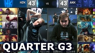 H2K vs ANX - Game 3 Quarter Finals Worlds 2016 | LoL S6 World Championship H2K vs Albus Nox Luna G3