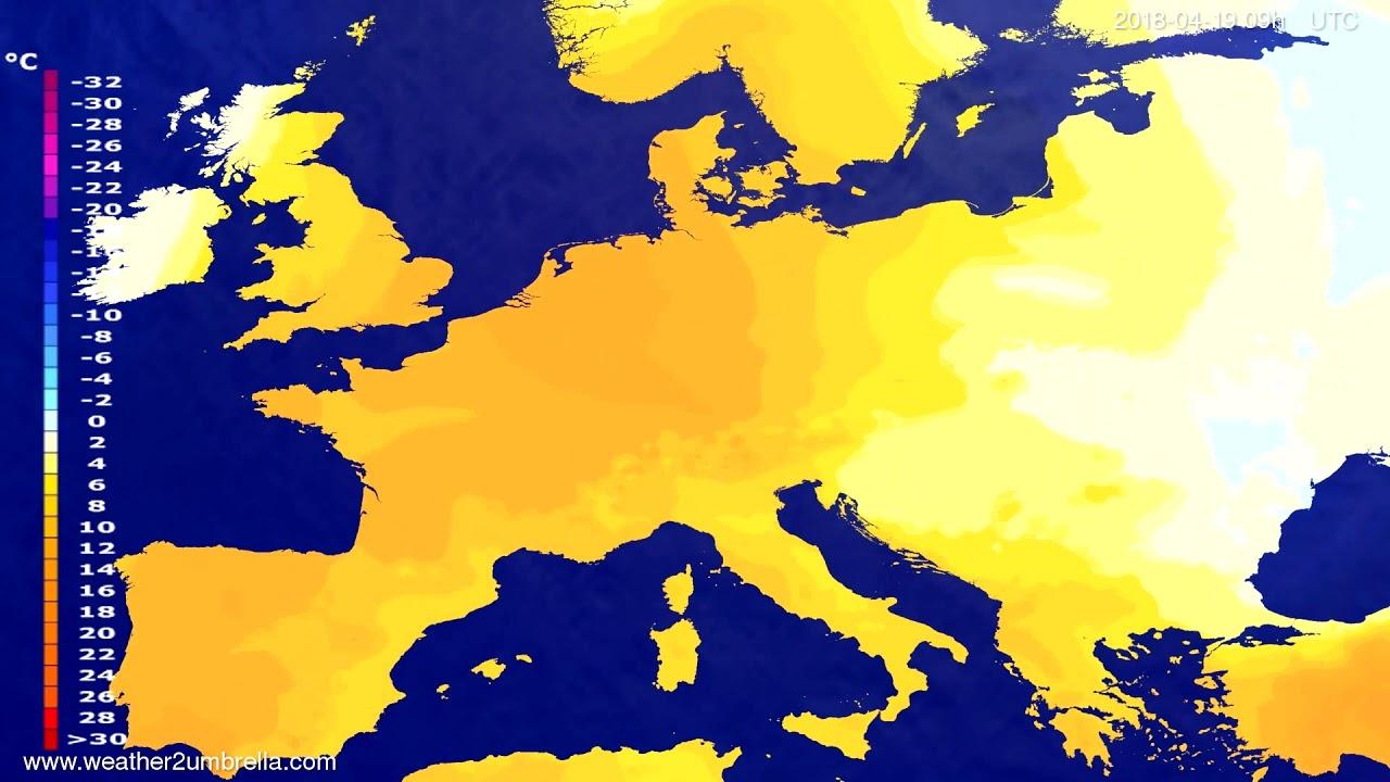 Temperature forecast Europe 2018-04-15