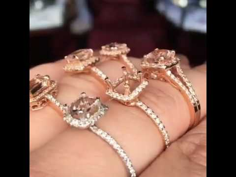 Turn your hand into a peach-colored sparkler with morganite rings sold by KOKOGEM.COM