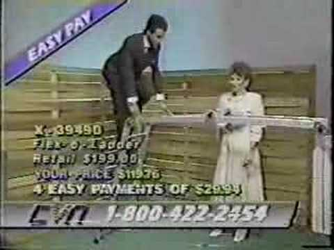 ladder - Harold McCoo of the Cable Value Network (CVN) takes a tumble off the ol flex-o-ladder as Karen Connelly looks on in this classic home shopping blooper. Check...