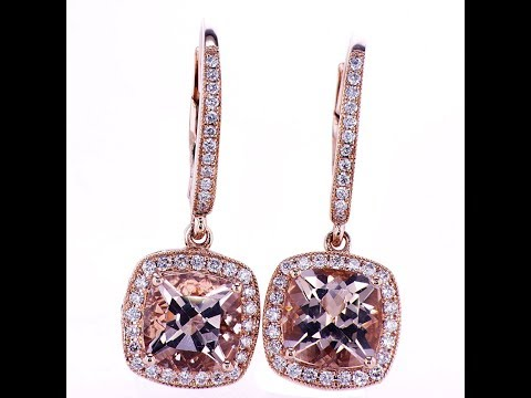 3.16 CT Diamond and Morganite Earrings