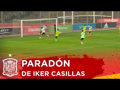 Iker Casillas se luce con un paradón en el entrenamiento (vídeo)