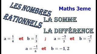Maths 3ème - Les nombres rationnels Addition et Soustraction Exercice 12