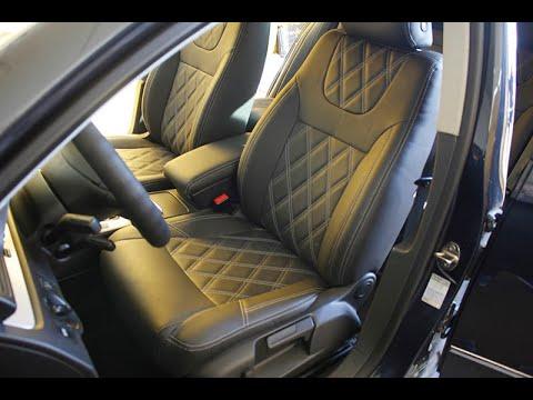 """Чехлы на Volkswagen Passat B6 серии """"Premium""""с ромбами - серая строчка"""