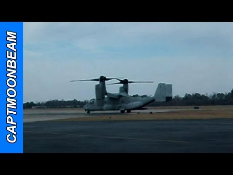 A V-22 Osprey takes off at Wilmington,...