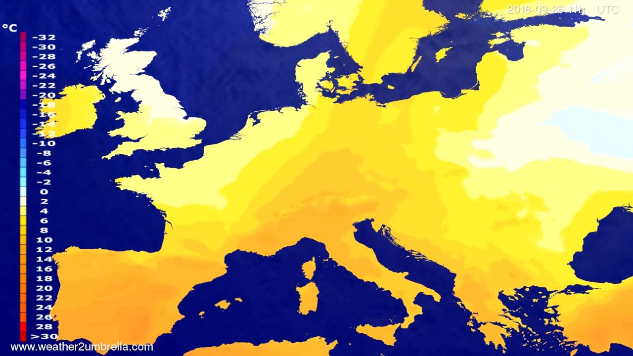 Temperature forecast Europe 2016-09-22