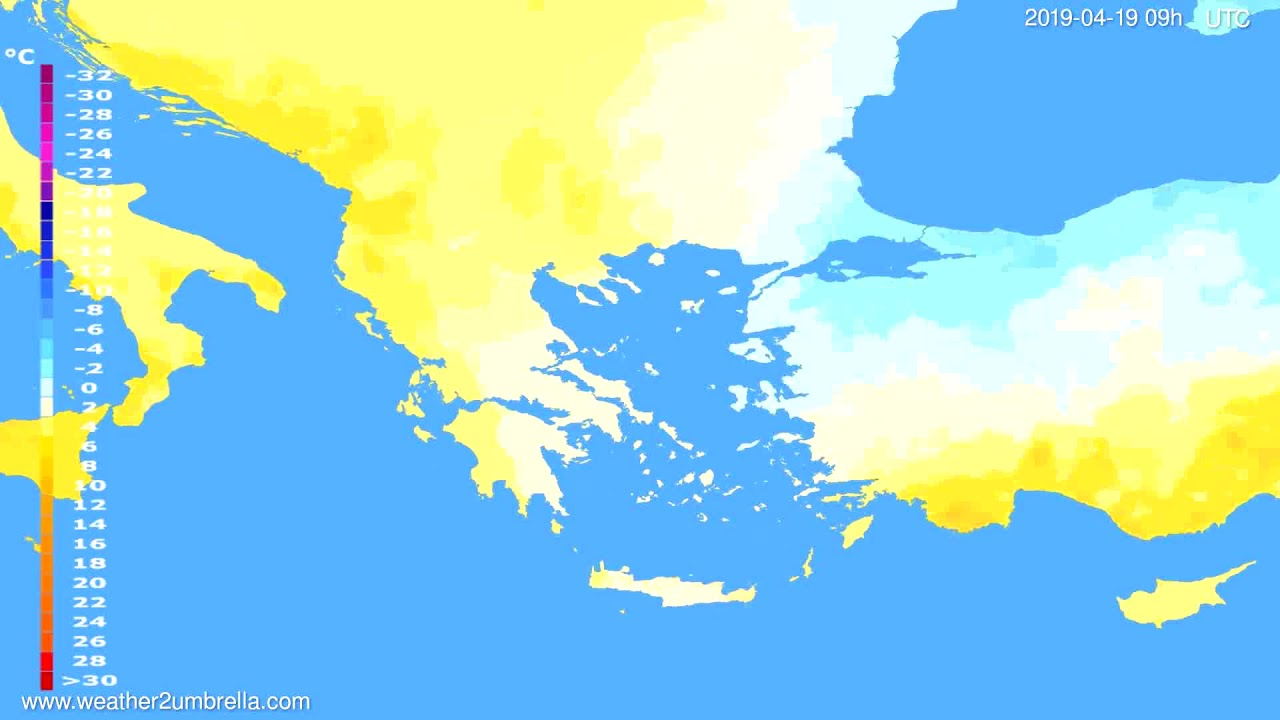 Temperature forecast Greece // modelrun: 12h UTC 2019-04-17