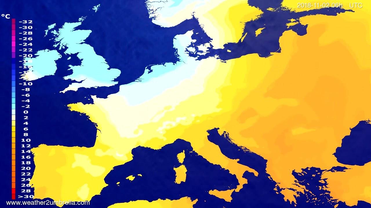 Temperature forecast Europe 2018-10-29