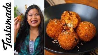 Fried Kimchi Rice Balls | The Tastemakers-Jen Phanomrat by Tastemade