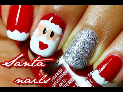 Easy Santa Claus nail art