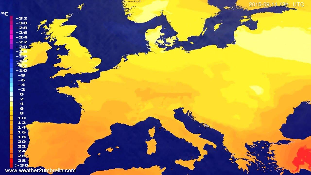 Temperature forecast Europe 2015-09-08