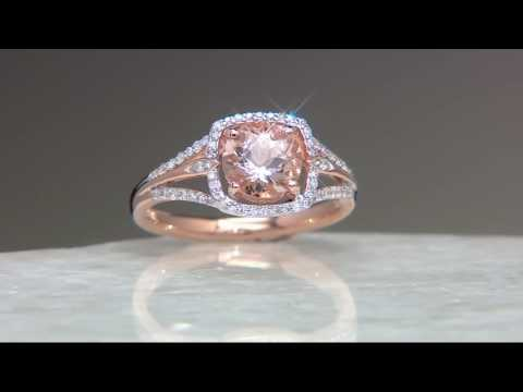 Round Morganite & Diamond Solitaire Ring 14K Gold 1.00 cttw on QVC
