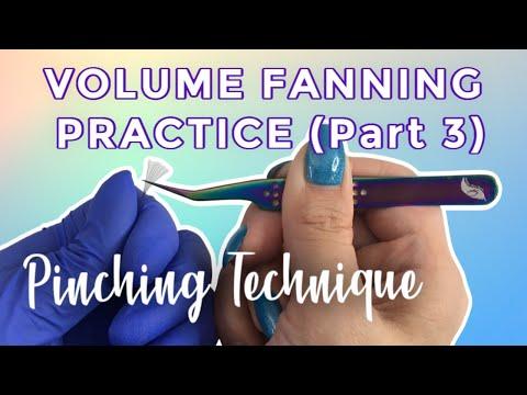 Eyelash Extensions Volume Fanning - Pinching Method