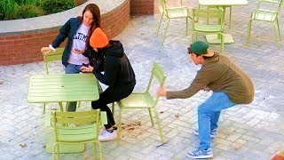 Video Chair Pulling Prank Silly String! MP3, 3GP, MP4, WEBM, AVI, FLV Desember 2018