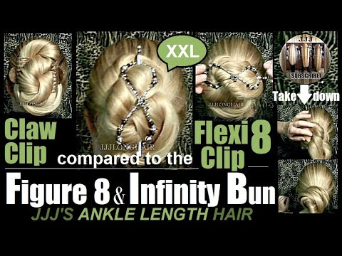 JJJ's Figure 8 & Infinity Bun for long hair-Ankle Length Hair Held with Flexi8 & clips