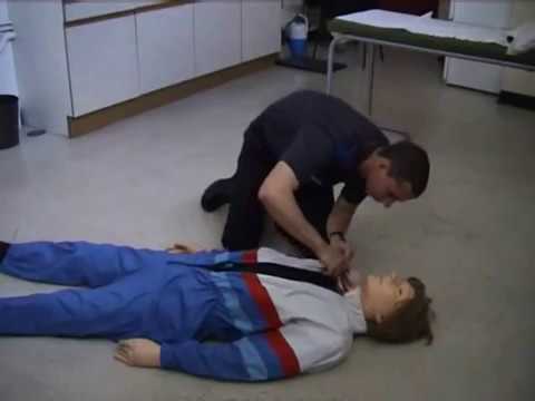 "mannequin-man performming as a CPR Dummy: Training sequence using ""danny cpr mk II"" in basic life support course, student using DRABC mnenonic, checking Danger, Response, Airway, Breathing and Circulation for West Mids Fire Service on 28/03/2003"