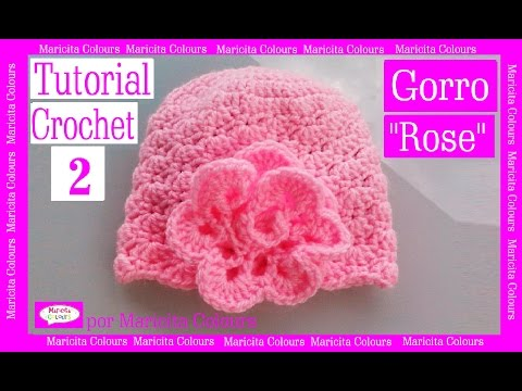"Gorro Bebé ""Rose"" Crochet (2)  Por Maricita Colours Tutorial Gratis Ganchillo"