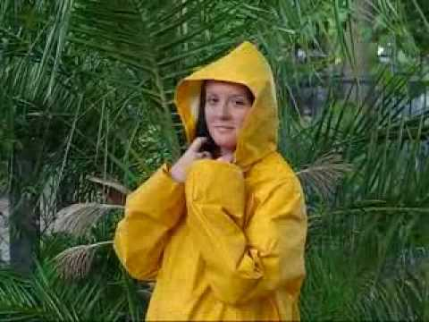 Rainweargirl - I am wearing a long yellow PVC raincoat with matching rainpants under it tucked into olive green rubber boots. I tried it out and it felt very nice.