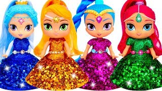 Shimmer and Shine Dress Up How to Make Play Doh Beautiful Dresses with Glitter for Dolls DIY