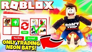 I ONLY Traded NEON BAT DRAGONS in Adopt Me! NEW Adopt Me Halloween Update 2019 (Roblox)