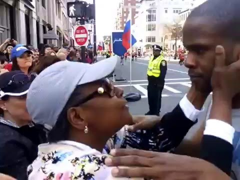 #TheGoodStuff - Autism Superman - Touching Boston Marathon 2016 Finish Line Video