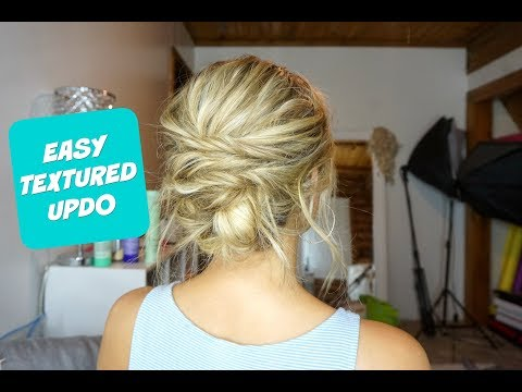 Hairstyles for short hair - EASY TEXTURED UPDO!  Hairstyle for Short, Medium, and Long Hair!