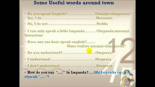 Useful Luganda words used around town, Audio as well text, male recorded
