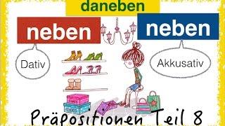 """German Prepositions - two-way-prepositions, in this video: NEBEN (next to) and the adverb DANEBEN (next to it) and NEBENEINANDER (next to each other). The German prepositions are one of the hardest grammar, for sure. You have to learn it step by step, with examples and pictures - and of course exercises!Donate on Paypal for a new laptop AND get a free ebook!:https://www.paypal.com/cgi-bin/webscr?cmd=_s-xclick&hosted_button_id=86FVQMMVFUSGWOR come on Patreon!https://www.patreon.com/FreeGermanLessons""""Neben"""" is a changing preposition or two-way-prepositon, Wechselpräposition in German. It takes accusative and dative.Dative: WO? - where?Accusative: WOHIN? - where to? change of place from A to B.Beispiele: 1. WO (Dativ)Wo ist der Teddybär?  Neben dem Laptop.Wo ist das Bett? Neben dem Schreibtisch.Wo sind die Shorts?  An der Leine,   neben dem pinken   Handtuch.Wo ist der Computertisch?  Neben der Kommode.In Berlin wird ein Haus neben dem anderen renoviert. (one house next to the other).In einer Allee steht ein Baum neben dem anderen.In dem Einkaufszentrum gibt es ein Geschäft neben dem anderen.Er steht neben seinen Schuhen.= er ist anders als sonst,   nicht sich selbst. Er ist """"durch den Wind"""".Er arbeitet neben dem Studium als Kellner2. WOHIN (Akkusativ)Die Katze hat sich neben den Clown gesetzt.Er hat seine Tasche neben sich gestellt.Möchtest du dich  neben ihn setzen?3. daneben/ nebeneinanderDie Männer sitzen nebeneinander.in Berlin leben Menschen aller Hautfarben friedlich nebeneinander (zusammen)Er hat sich an der Party total  daneben benommen!Wohnst du in diesem Haus? Nein, in dem (Haus) daneben!4. ÜBUNGENDie Brille liegt zwischen _____ Tablet und ____ Tastatur. Die Tasse steht ____ der Brille. Die grünen Schuhe passen nicht. Aber vielleicht die _________?Auf dem Parkplatz steht ein Auto _________________.In Berlin gibt es eine Baustelle  __________________Er liegt neben ______ Schwester (Possessivartikel)Welche ist deine Katze? Die in der Mitte?  Nein, die ________"""