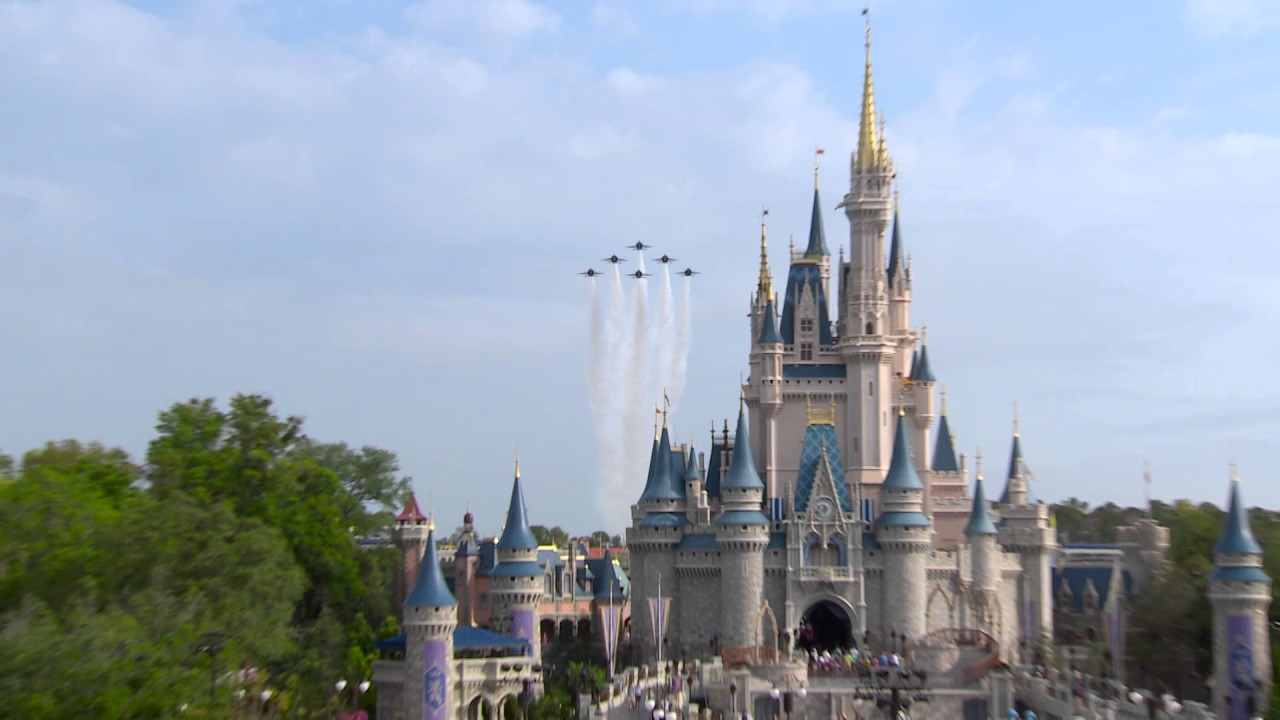 U.S. Navy Blue Angels fly over the Magic Kingdom
