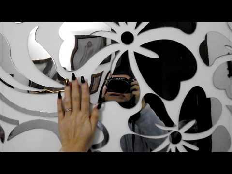 Adesivo murale a specchio - parato fiorito - Alicemall